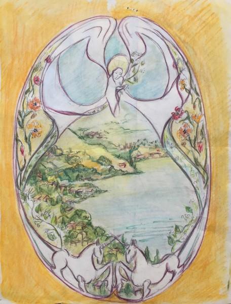 skitse til kalkmaleri Lindehuset