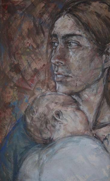 portræt af mor med barn